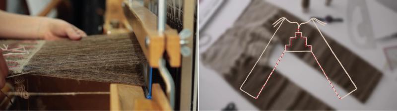 Weben der drei Teile der Hose und Zusammennähen für die Reproduktion der Hose aus Yanghai Grab M21 (Foto links: D. Schuster, rechts: Standfoto aus Animationsfilm: A. Osorno; Textildesignerin: M. Hallgren-Brekenkamp, Schnittrekonstruktion: Dr. U. Beck)
